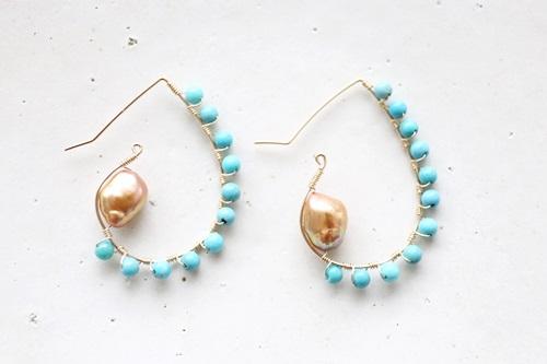 画像2: 14KGF turquoise  pearl piece