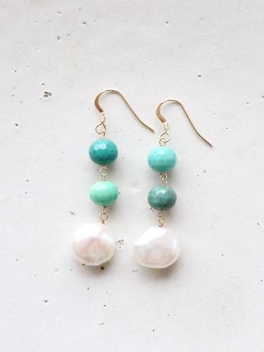 画像1: 14KGF baroque pearl green_chalcedony pierce[kgf0216]