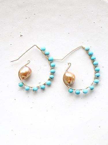 画像1: 14KGF turquoise  pearl piece