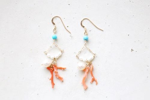 画像2: (14kgf)coralpink turquoise pearl pierce