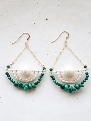 画像1: 14KGF malachite topaz pearl pierce