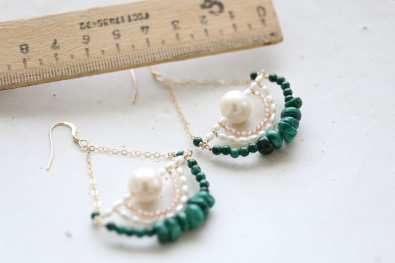 画像3: 14KGF malachite topaz pearl pierce