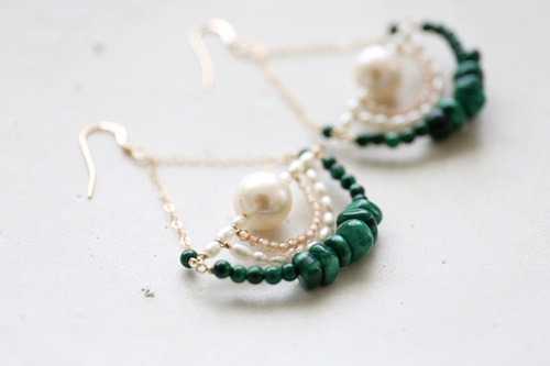 画像2: 14KGF malachite topaz pearl pierce