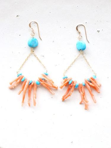 画像1: 14KGF Sleeping beautyturquoise coral pierce