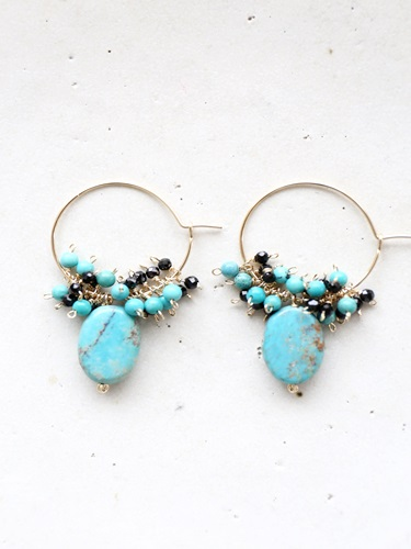 画像1: 14KGF black spinel  turquoise hooppierce