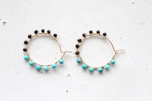 画像3: 14KGF black spinel  turquoise pierce