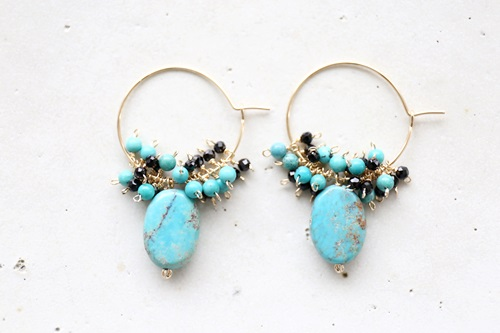 画像2: 14KGF black spinel  turquoise hooppierce