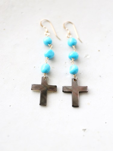 画像1: 14KGF  cross Sleeping beautyturquoisepierce