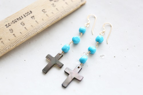 画像2: 14KGF  cross Sleeping beautyturquoisepierce