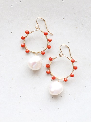 画像1: 14KGF coral pearl pierce