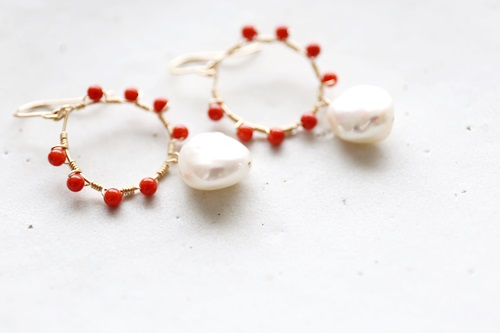 画像3: 14KGF coral pearl pierce