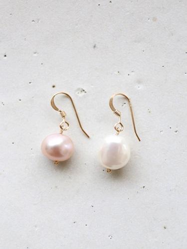 画像1: 14KGF white&pinkpearl pierce