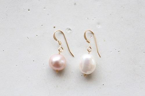 画像2: 14KGF white&pinkpearl pierce