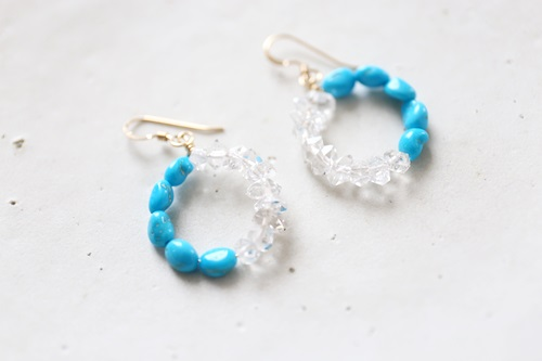 画像2: 14KGF Sleeping beautyturquoise Wpoint quartz pierce