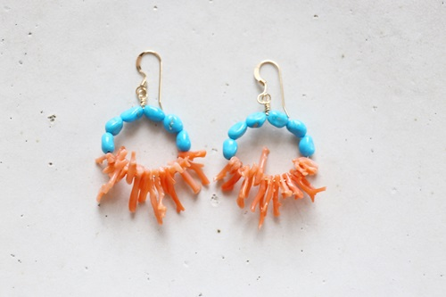 画像2: 14KGF Sleeping beautyturquoise coral  pierce
