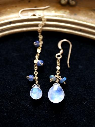 画像1: 14KGF Blue Moonstone opal pierce