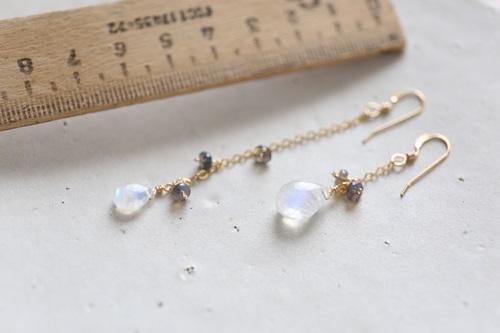 画像2: 14KGF Blue Moonstone opal pierce