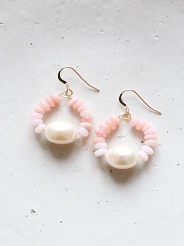 画像1: 14KGF pinkopal pearl pierce