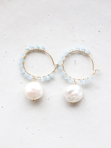 画像1: 14KGF aquamarine pearl pierce