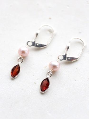 画像1: SILVER925 garnet pearl pierce