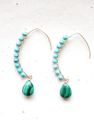 画像1: 14KGF turquoise malachite pierce