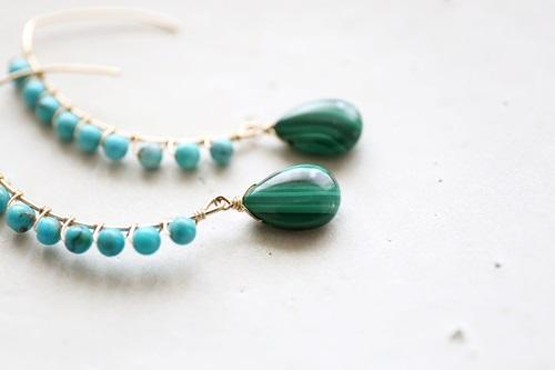 画像2: 14KGF turquoise malachite pierce