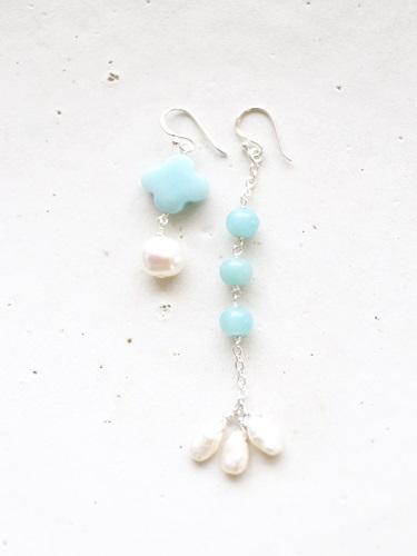 画像1: SILVER925 amazonite pearl pierce