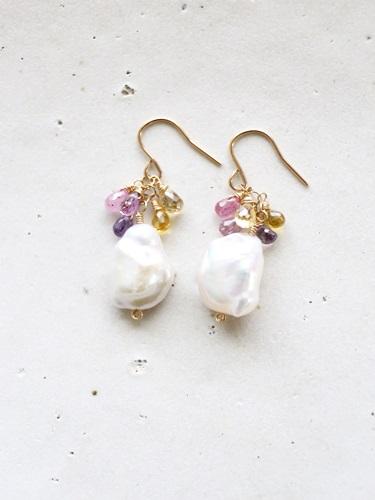 画像1: 14KGFsapphire pearl pierce