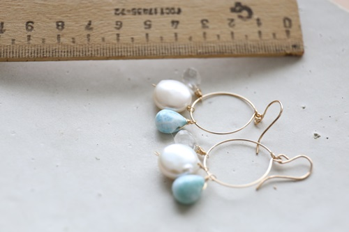 画像2: (14kgf) larimar pearl crystal hooppierce