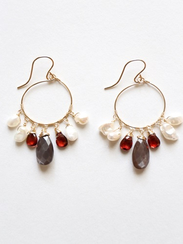 画像1: 14KGF garnet brownmoonstone pearl pierce