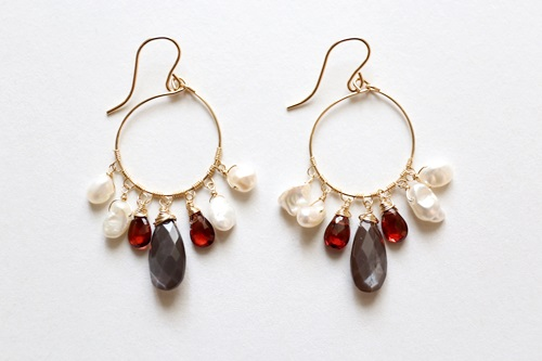 画像2: 14KGF garnet brownmoonstone pearl pierce