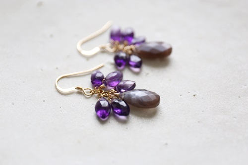 画像2: 14KGF brownmoonstone amethyst pierce