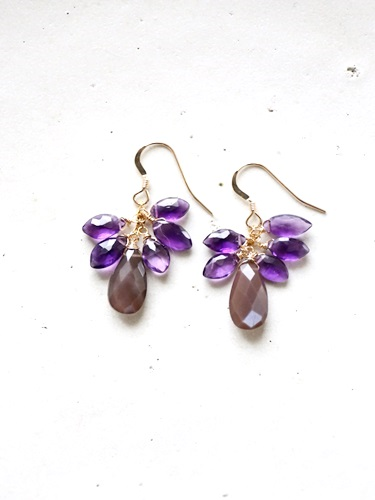 画像1: 14KGF brownmoonstone amethyst pierce