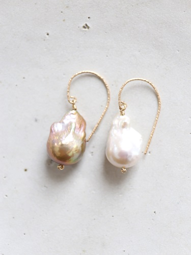 画像1: 14KGF white&brown baroquepearl pierce