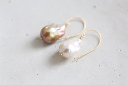 画像2: 14KGF white&brown baroquepearl pierce