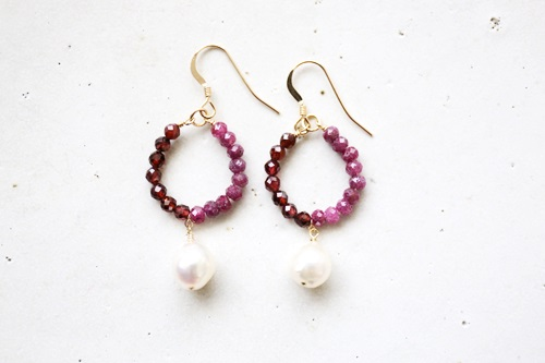 画像3: 14KGF ruby  garnet akoyapearl pierce
