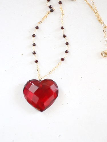 画像1: 14KGF amber heart necklace