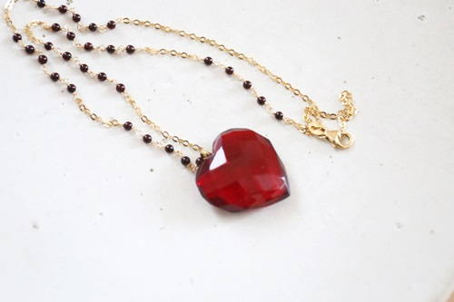 画像3: 14KGF amber heart necklace