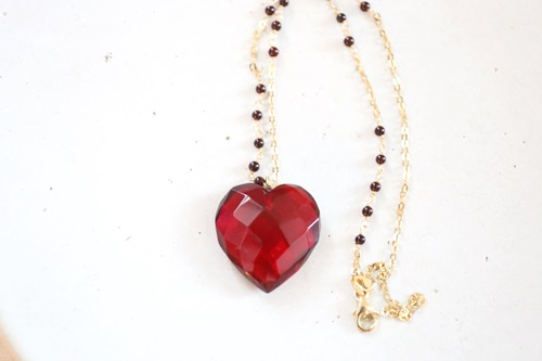 画像2: 14KGF amber heart necklace