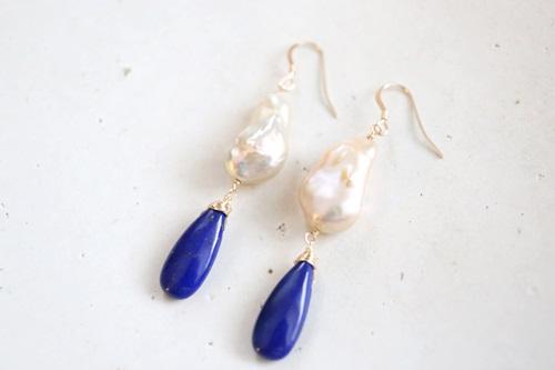 画像2: 14KGF lapis lazuli pearlpierce