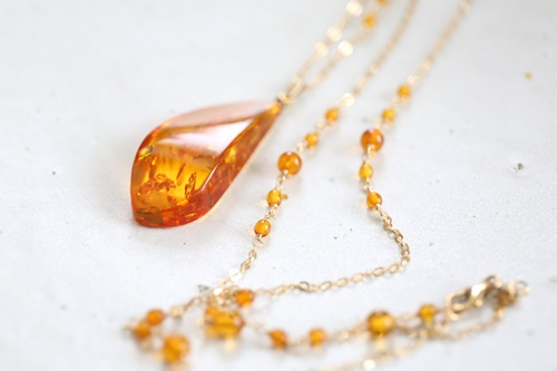 画像4: 14KGF amber necklace