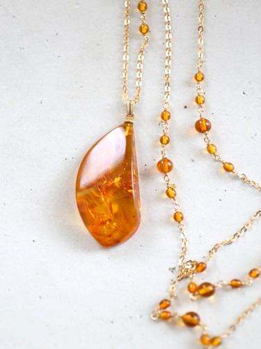 画像1: 14KGF amber necklace