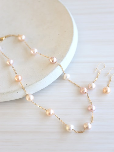 画像1: 14KGF pearl necklace&piece set