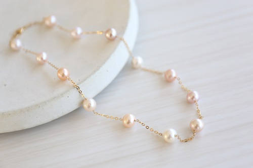 画像2: 14KGF pearl necklace&piece set