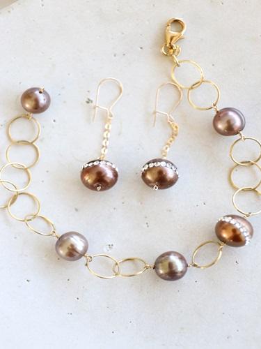 画像1: 14KGF pearl bracelet&piece set