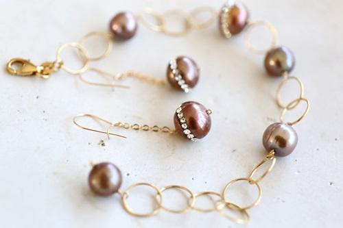 画像3: 14KGF pearl bracelet&piece set