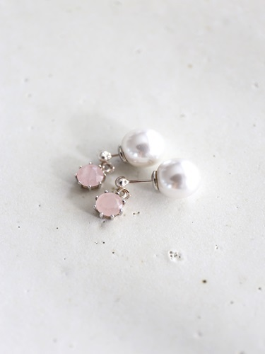 画像1: SILVER925 roze quartz pierce