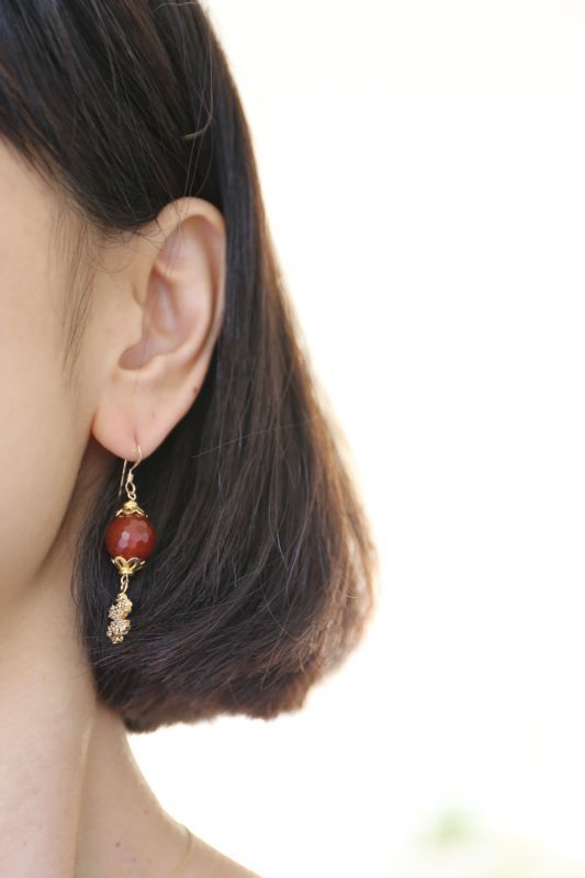 画像3: 14KGF carnelian snow crystal pierce