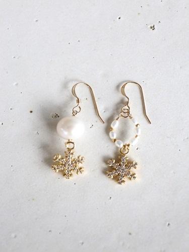 画像1: 14KGF snow crystal pearl pierce