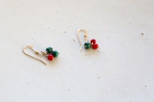 画像3: 14KGF 『Christmas』 coral malachite  pierce